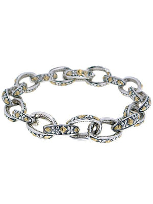 Oval Link Connection Two Tone Bracelet