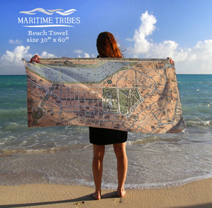 Beach Towel - Vintage Boston Map