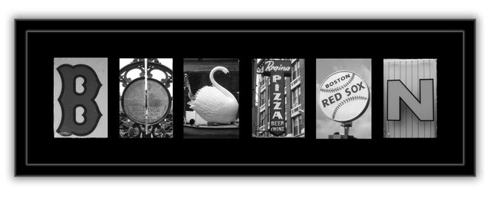Boston Landmark Letters Framed Photographs - Baseball B