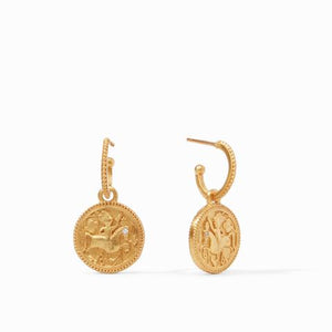 Julie Vos- Coin Hoop & Charm earrings