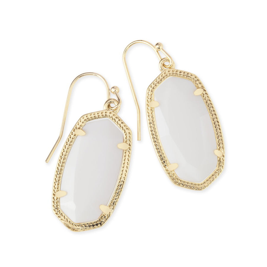 Dani Gold Earrings In White Mother Of Pearl