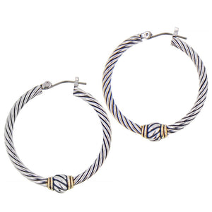 John Medeiros Oval Link Collection Large Twisted Wire Hoop Earrings