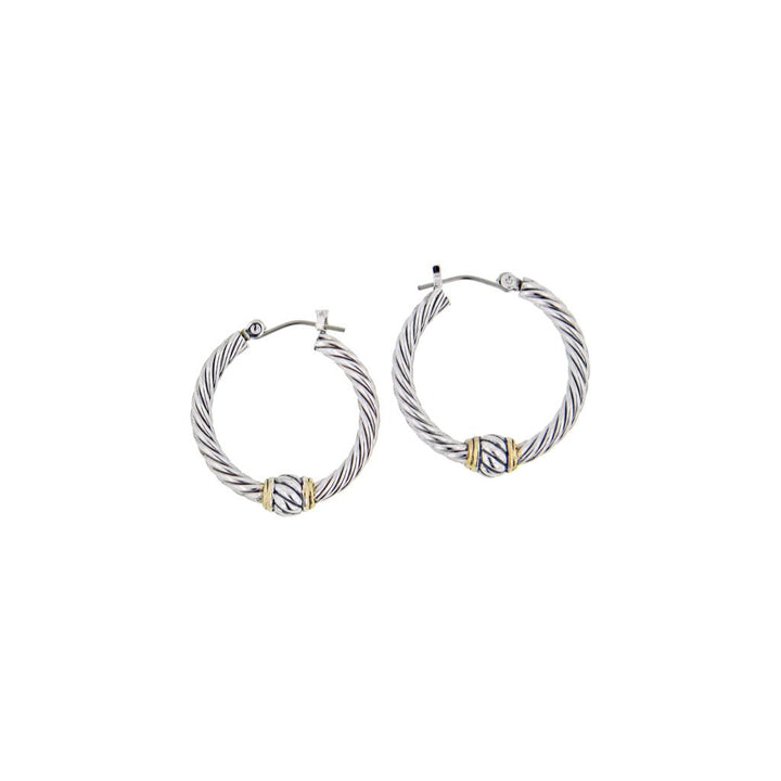 John Medeiros Oval Link Collection Small Twisted Wire Hoop Earrings