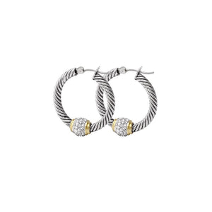 John Medeiros- Antiqua Pave' Twisted Wire Hoop Earrings