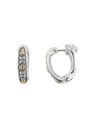 Oval Link Connection Two Tone Snuggy Earrings