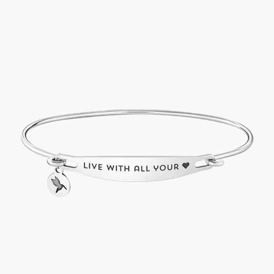 Chamilia-Live With All Your Heart Spoken ID Bangle in Silver