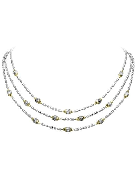 Beaded Two Tone Pave' Triple Strand Necklace