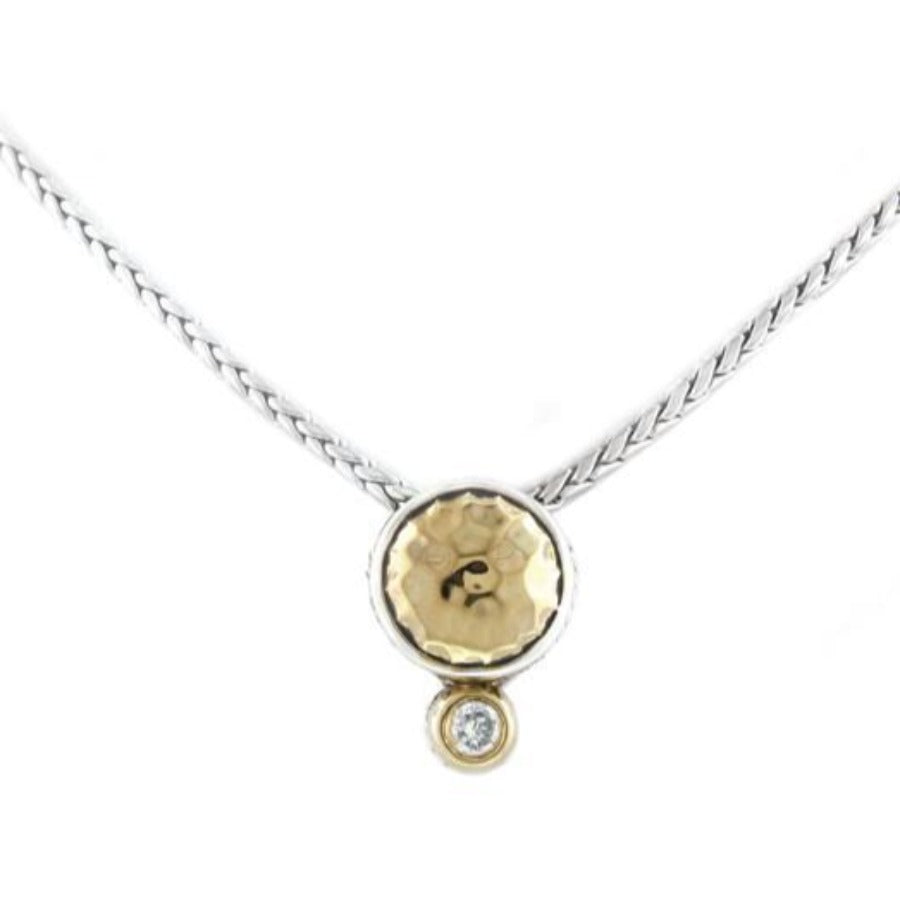Nouvea Collection Hammered Series Single CZ Necklace