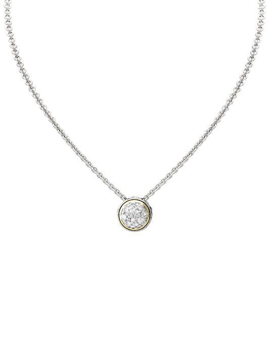 Oval Link Collection Lanna Solitaire Pave' Necklace