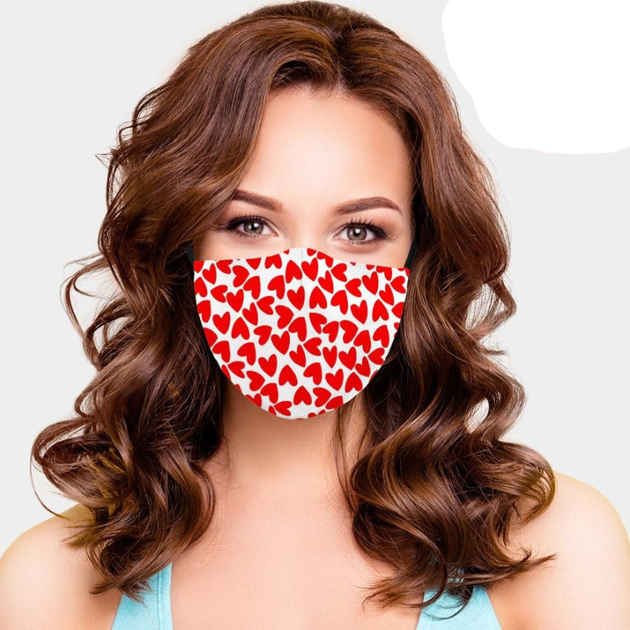 Valentine Facemask - White Hearts
