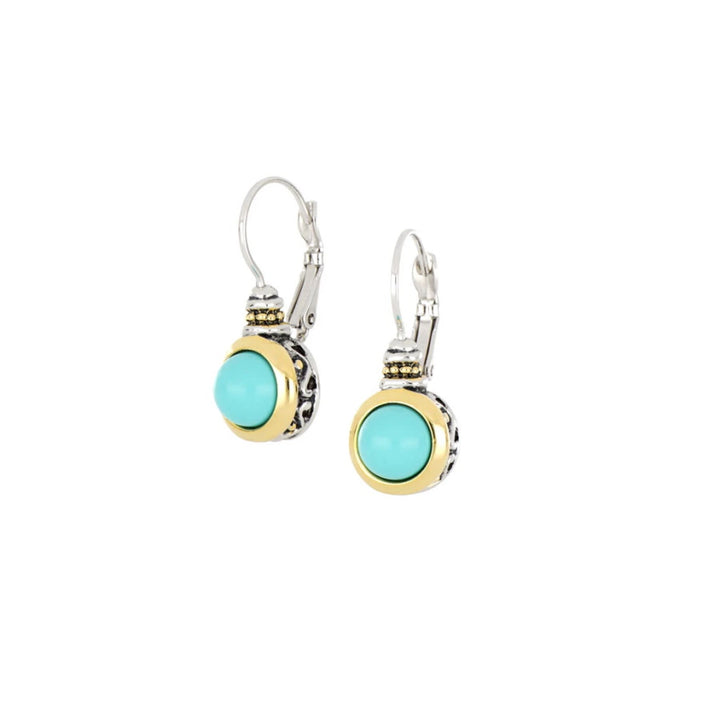 Pérola Turquoise French Wire Earrings