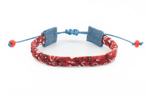Bandana Love Braided Bracelet - Red Skinny