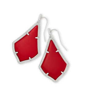 Alex Silver Drop Earrings In Bright Red Opaque Glass