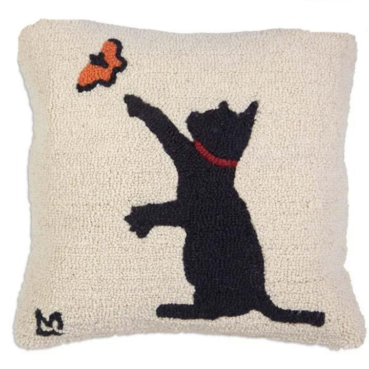 Hooked Pillow - Cat and Butterfly