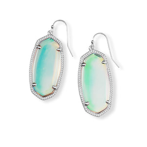 Elle Silver Drop Earrings In Dichroic Glass