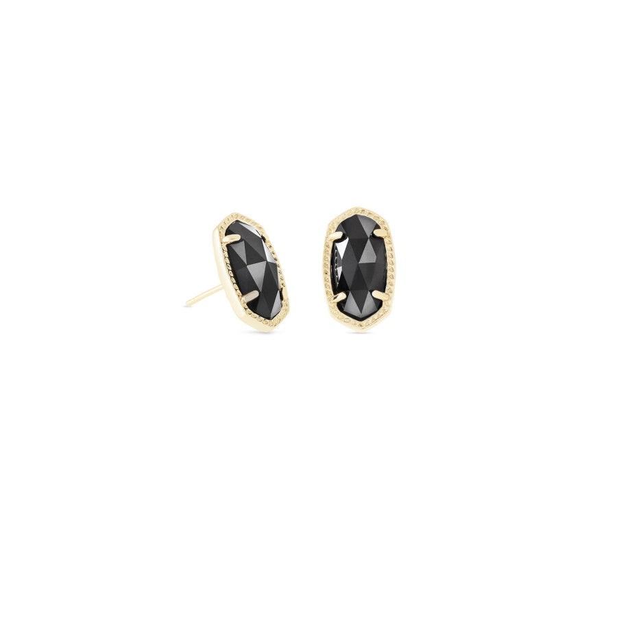Ellie Gold Stud Earrings In Black