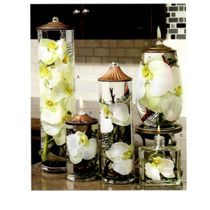 Oval Cut Glass - Lifetime Candle - White Orchid