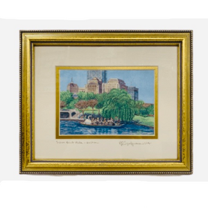"Framed Print - Swanboat Ride, Boston Public Garden - 8"" x 10"" - Gold Frame"