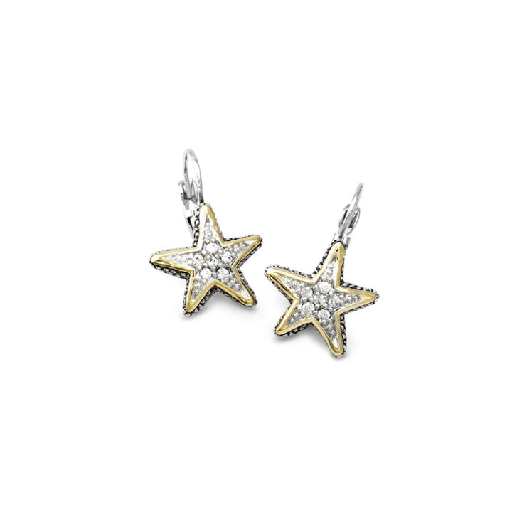 Ocean Images Seaside Collection Pave' Starfish French Wire Earrings
