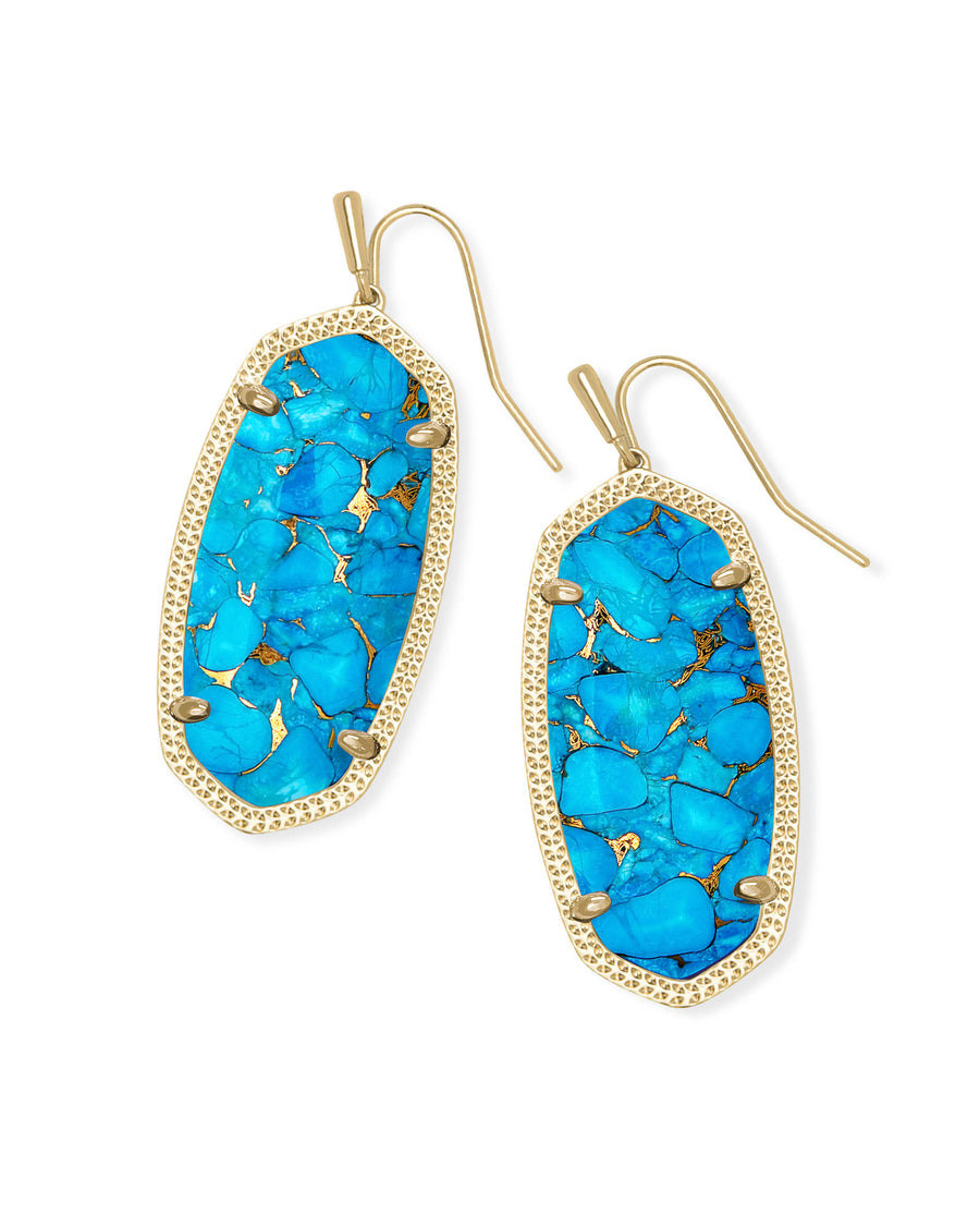 Elle Gold Drop Earrings In Bronze Veined Turquoise Magnesite