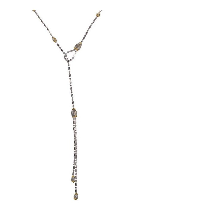 Beaded CZ Lariat Necklace