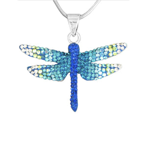 Mosaico Large Dragonfly Necklace-Blue