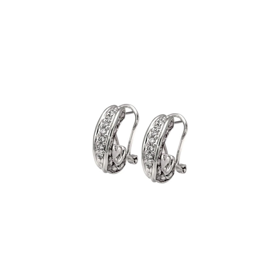 John Medeiros Oval Link Collection Pave' Post Clip Earrings