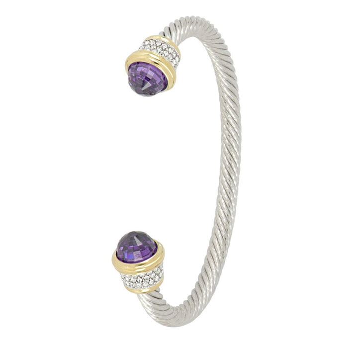 Briolette Wire Cuff  Amethyst Bracelet with Pave'
