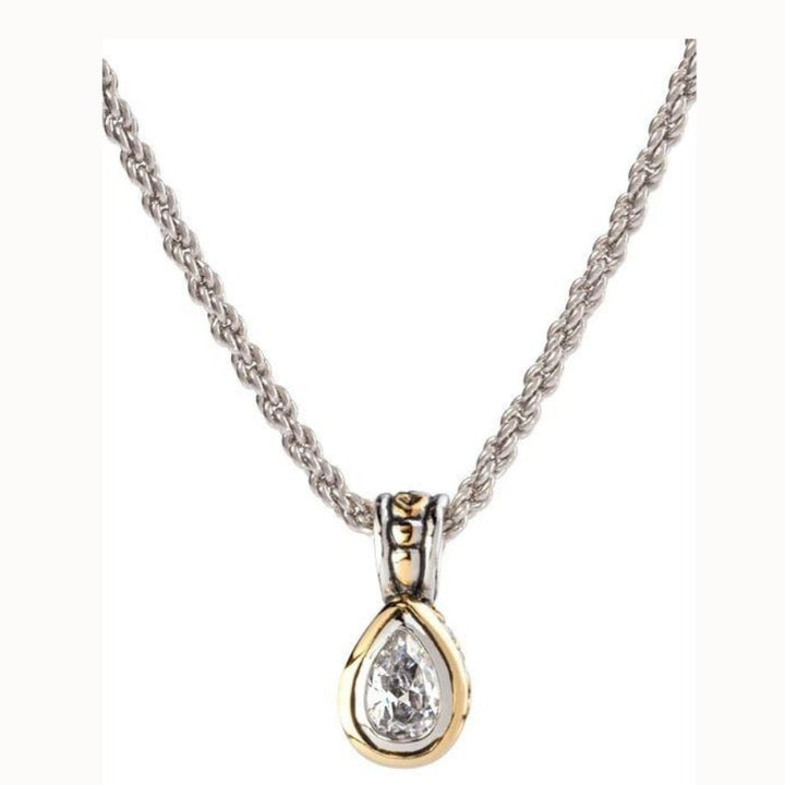 Beijos 9x6mm Pear CZ Pear Shape Bezel Set Pendant Necklace