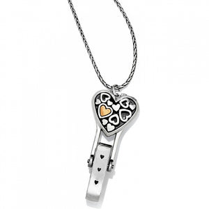 Floating Heart Badge Clip Necklace