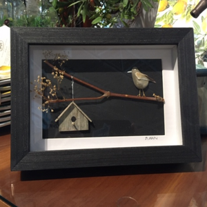 Beach Stone Art - Bird with Birdhouse - Dark Frame