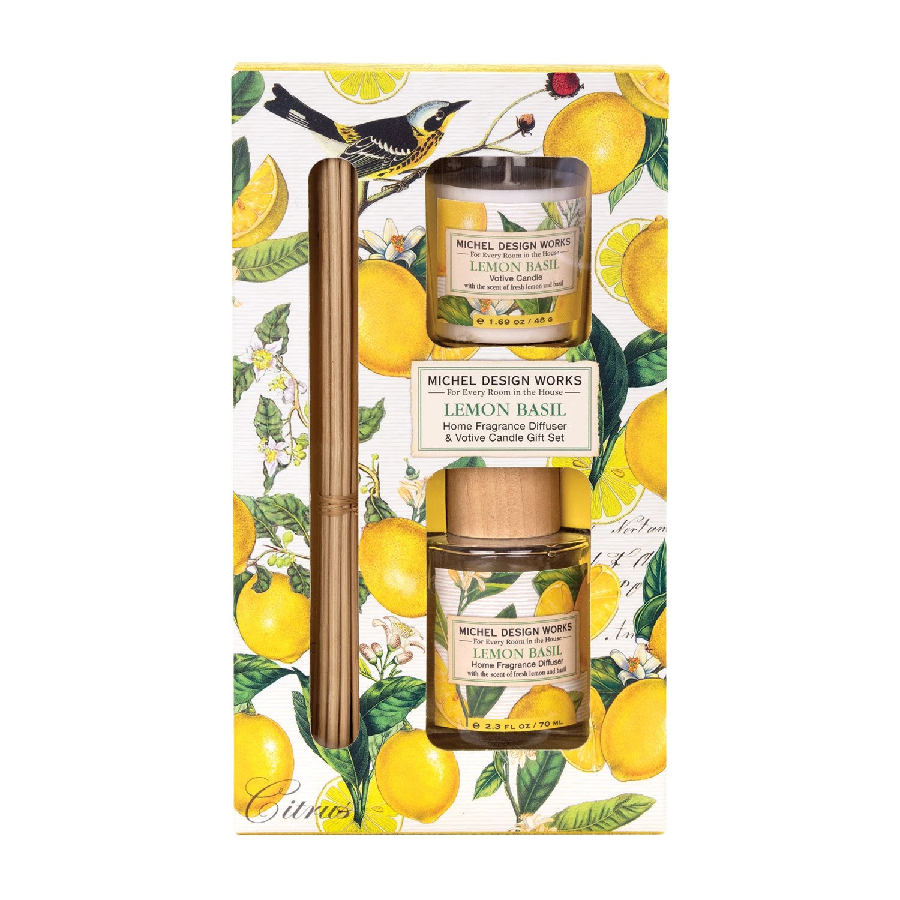 Lemon Basil Diffuser and Votive Candle Set
