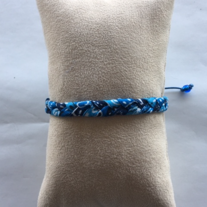 Bandana Love Braided Bracelet - Multi Blue Skinny