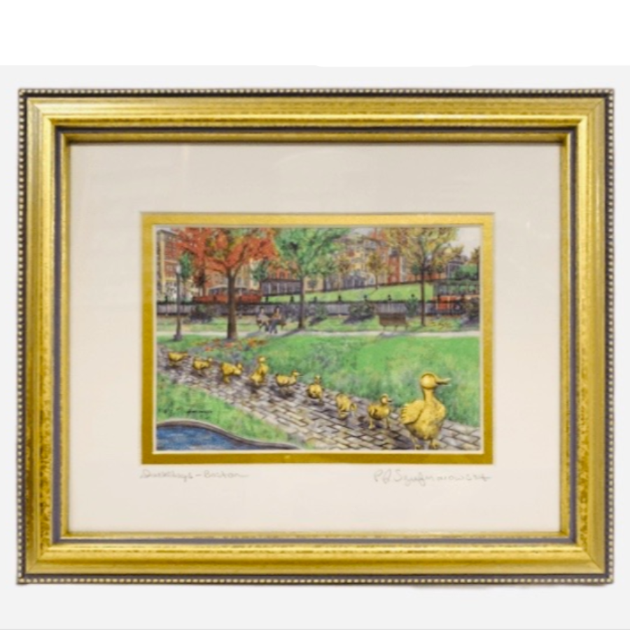"Framed Print - Ducklings, Boston Public Garden - 8"" x 10"" - Gold Frame"