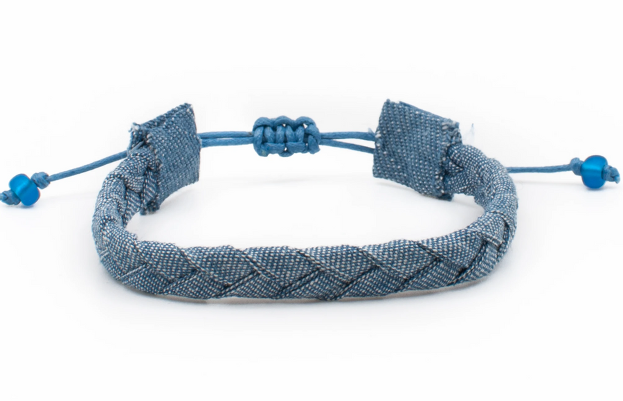 Bandana Love Braided Bracelet - Chambray Skinny