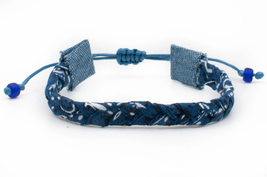 Bandana Love Braided Bracelet - Navy Skinny