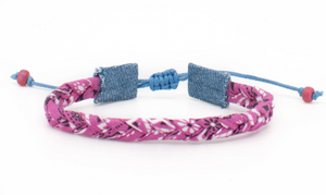 Bandana Love Braided Bracelet - Hot Pink Skinny