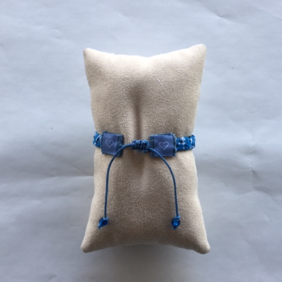 Bandana Love Braided Bracelet -  Sky Blue Skinny