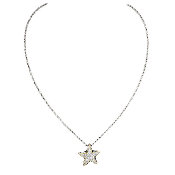 Ocean Images Seaside Collection Small Pave' Starfish Slider with Chain