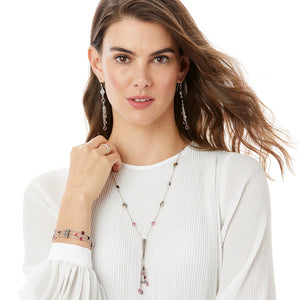 Elora Gems Y Necklace-Blush