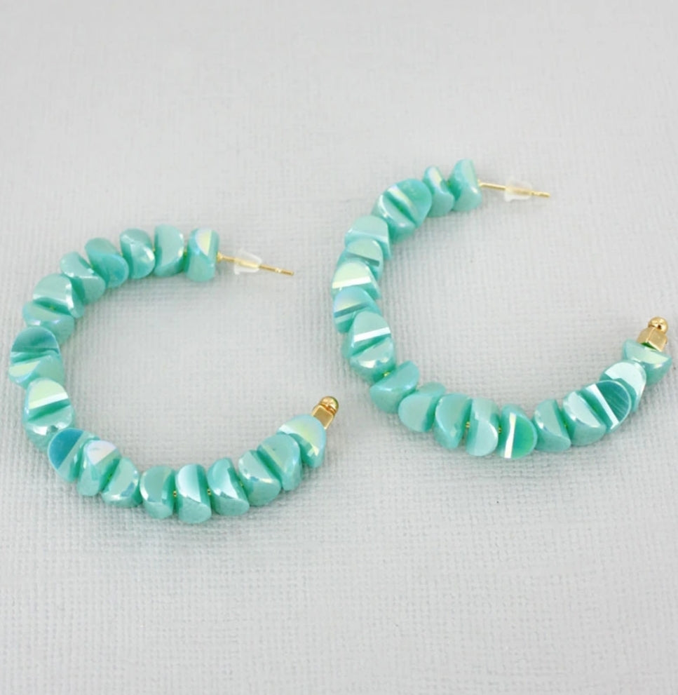 Iridescent Green Crescent Bead Half Hoop Earrings