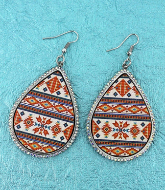 Crystal Trimmed Ivory Arizona Sky Teardrop Earrings