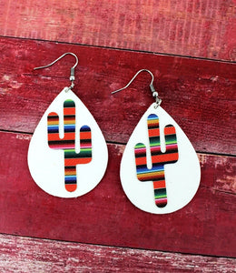 Serape Cactus Teardrop Earrings