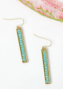 Turquoise Facated Bead Bar Earrings