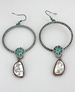 Patina Flower Hoop Earrings