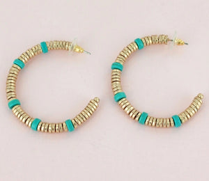 Goldtone and Turqoise Disk Beaded Hoop Earrings