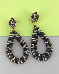Black Seed Bead Open Teardrop Earrings