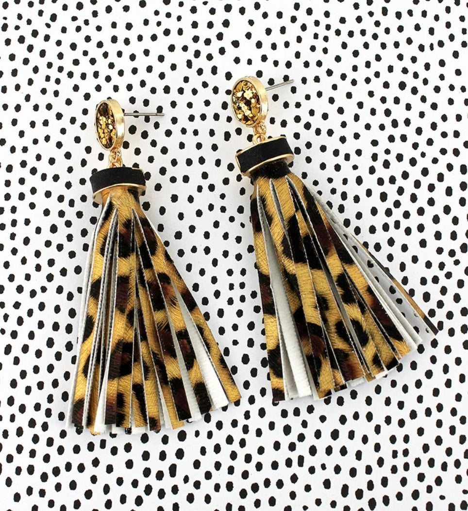 Gold Glitter Disk Leopard Tassel Earrings