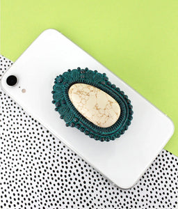 Patina & White Stone Phone & Stand