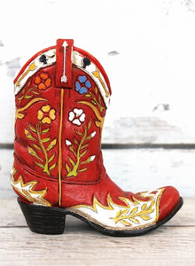 Red Floral Cowboy Boot